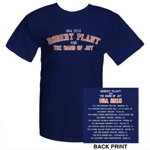 Robert Plant 2010 Band Of Joy Tour Navy T-Shirt