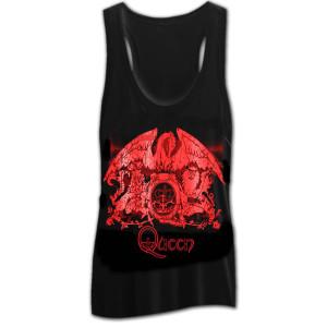 Queen Red Foil Crest Girls Tank Top