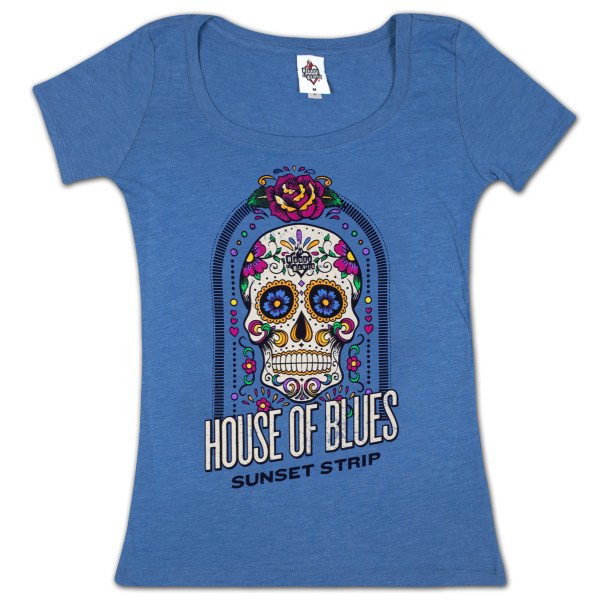 716adc89 House of Blues Sugar Skull Women's T-Shirt - Sunset Strip | Shop the ...
