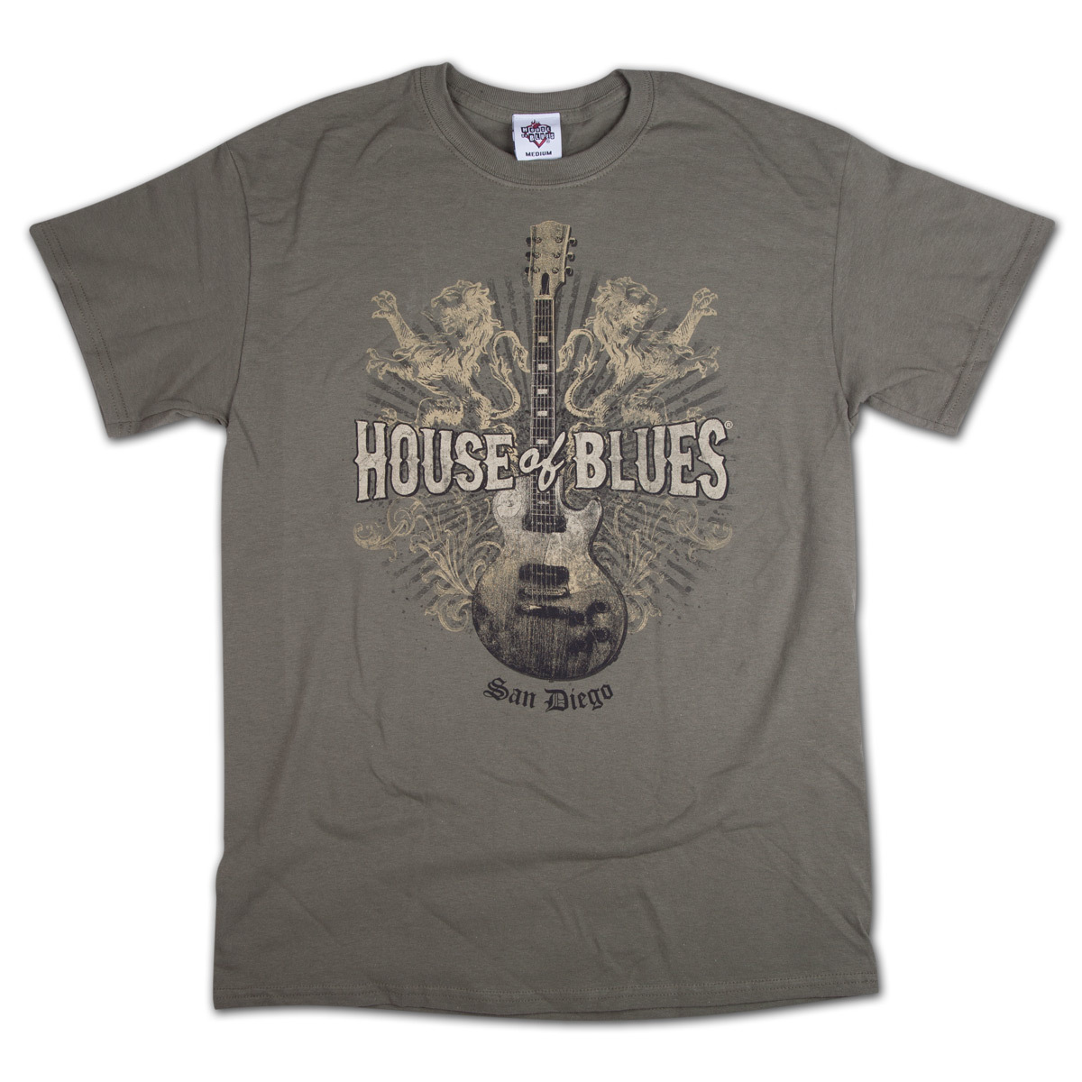 Lions guitar t shirt san diego shop the house of blues for Shirt printing san diego