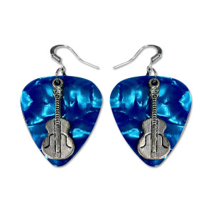 Blue Guitar Charm Pick Earrings