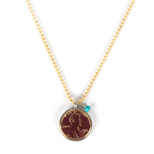 Gratitude Is Golden Gold Plated Penny Necklace