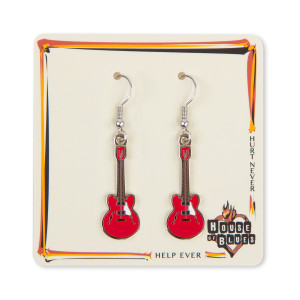 Red Guitar Earrings