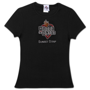 House of Blues Rhinestone Heart T-Shirt - Sunset Strip