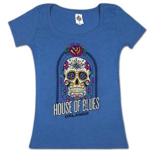 House of Blues Sugar Skull Women's T-Shirt- Orlando