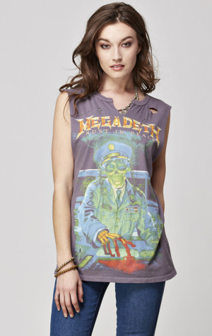 Megadeth Womens Destroyed V-Notch Muscle Tank