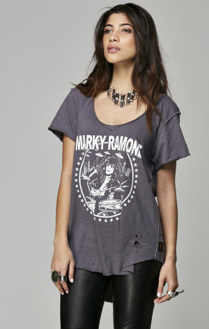 Marky Ramone Women's Destroyed Hi Low V-Neck Tee