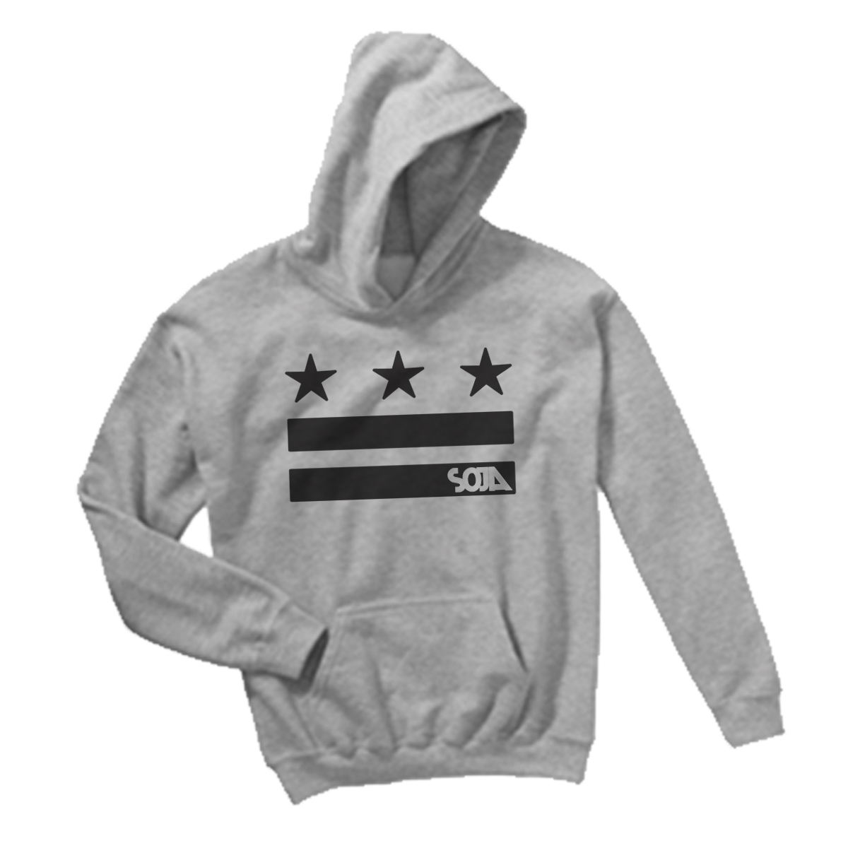 Pullover Hoodie - Stars & Stripes Logo Cutout - Heather Grey