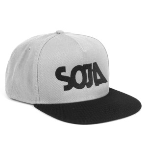 SOJA ADJ Hat with SOJA on front Gray with Black Bill