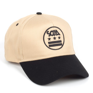SOJA ADJ Tan Hat with Stars and Bars with Black Bill