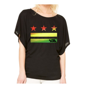 Stars & Stripes Logo Cut Out - Female Flowy Black Top