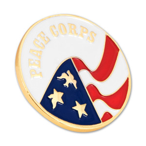 Peace Corps Lapel Pin with Gold Trim - 1 1/4""