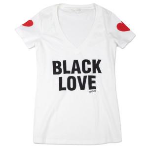 Women's Black Love V-neck