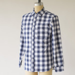 1791 Weekend Blue Check Spread Collar Shirt