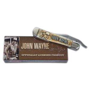 John Wayne Smooth Natural Bone Laser Engraved RussLock Knife
