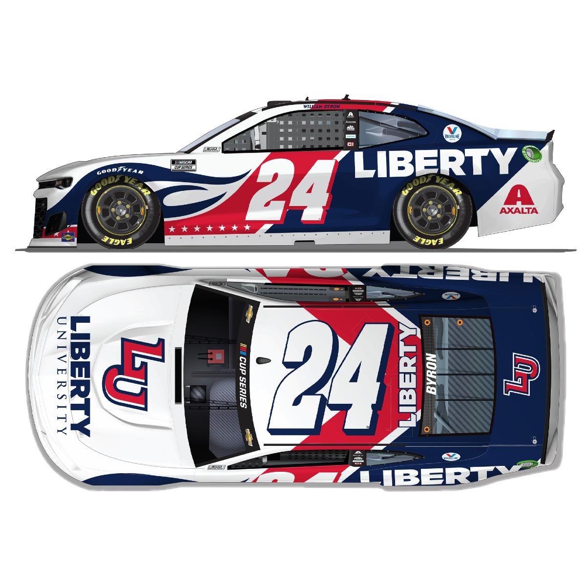 William Byron Autographed No. 24 Liberty University 2021 Chevrolet 1:24 HO Die-Cast