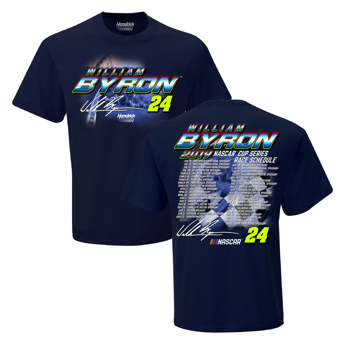 William Byron #24 2019 NASCAR Schedule T-shirt