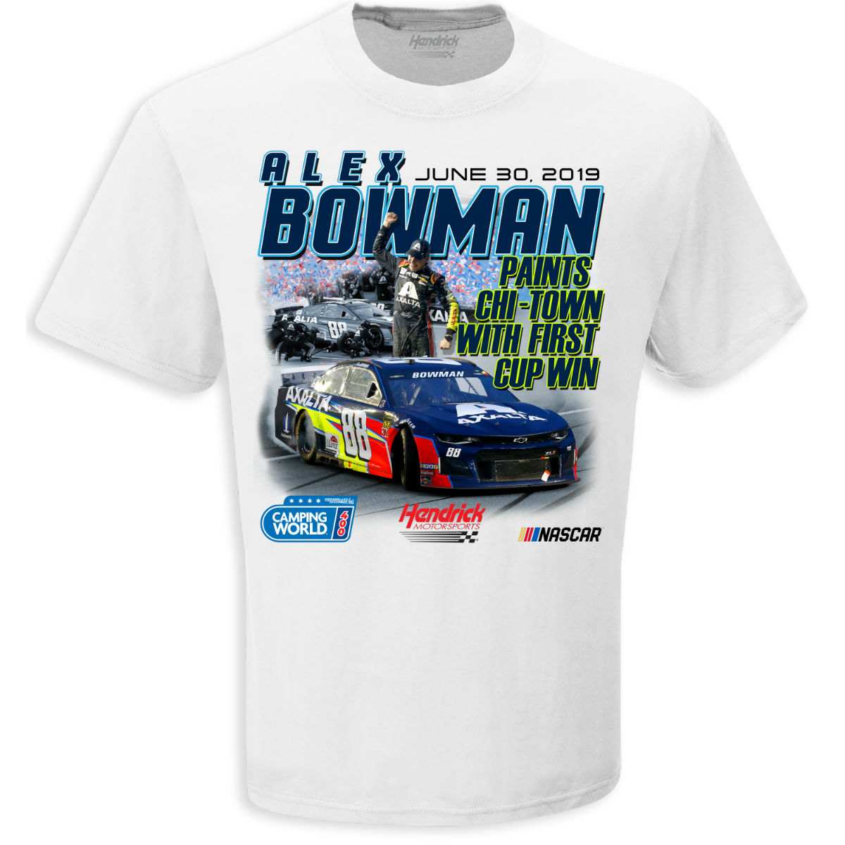 Alex Bowman NASCAR Camping World 400 Race Win T-shirt