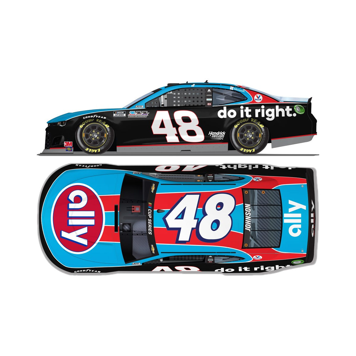 Jimmie Johnson No. 48 Ally Throwback Chevrolet Elite 1:24 - Die Cast
