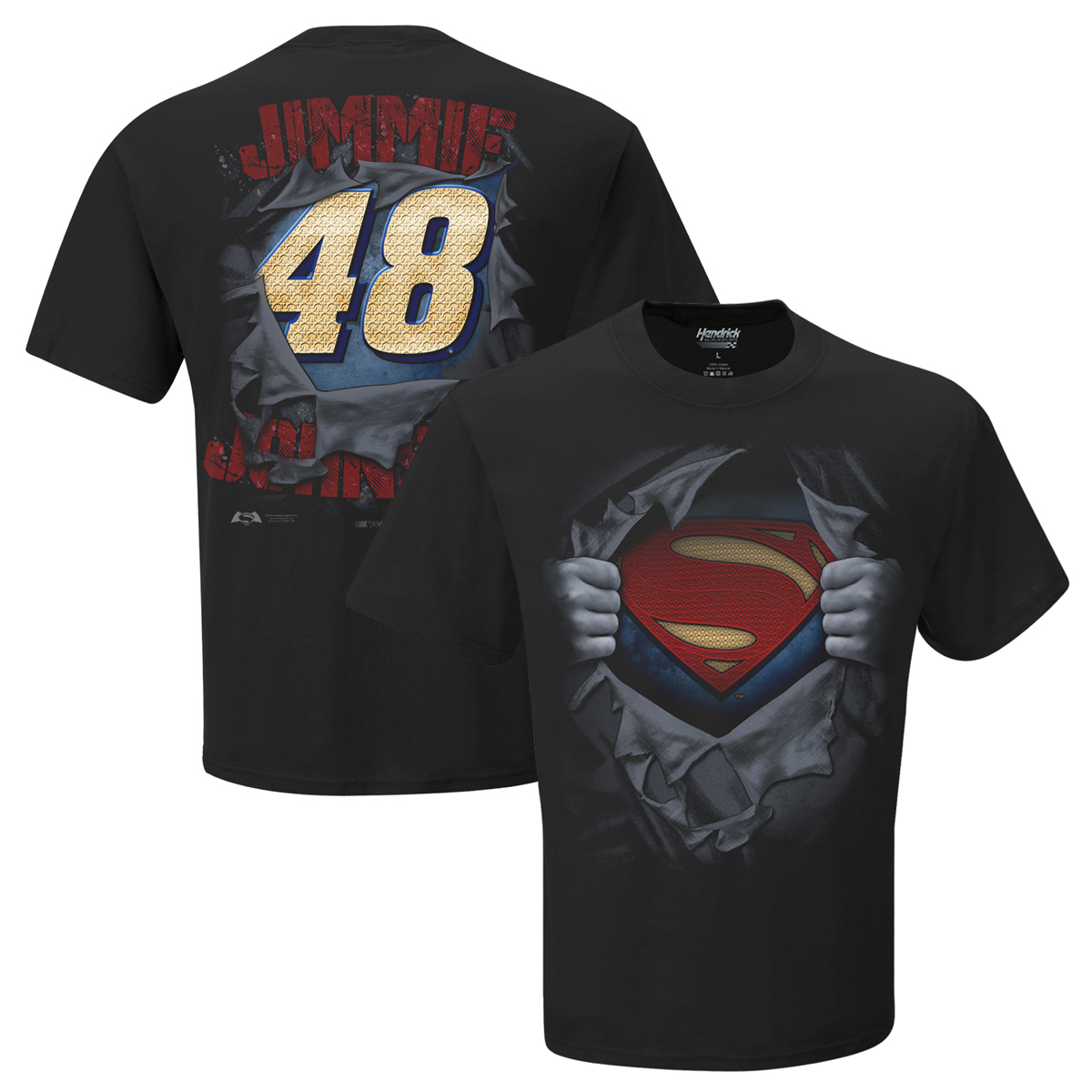 Jimmie johnson 48 superman man of steel t shirt shop for Man of steel t shirt online