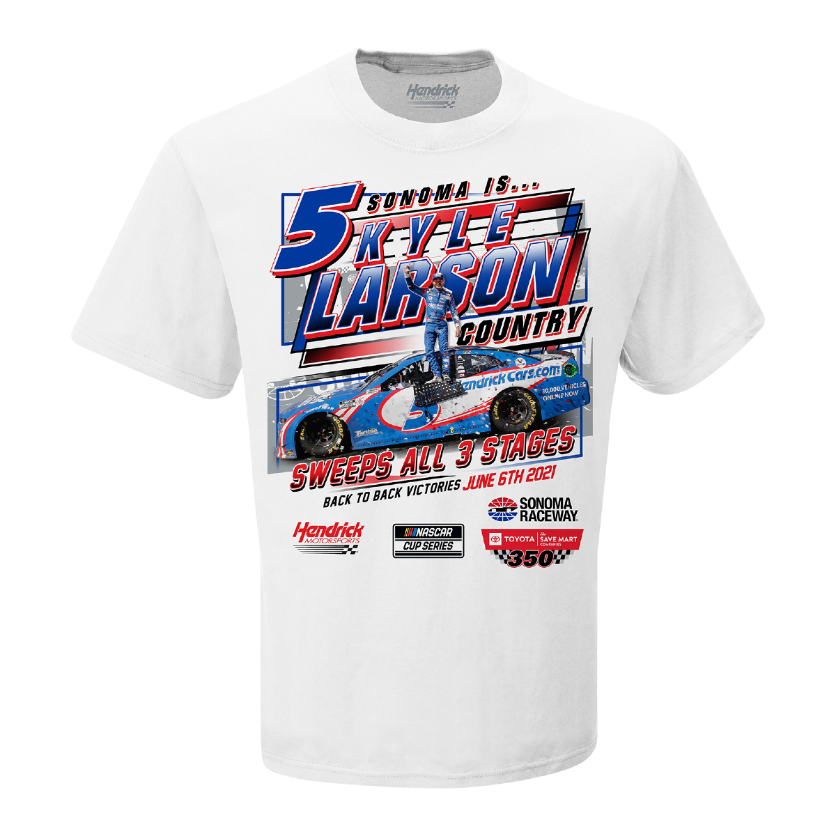 Kyle Larson 2021 NASCAR Sonoma Race Win T-shirt
