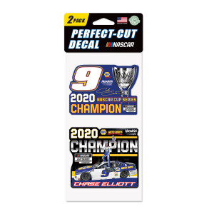 """NASCAR 2020 Champion Perfect Cut Decal 4"""" x 8"""" 2-pack"""