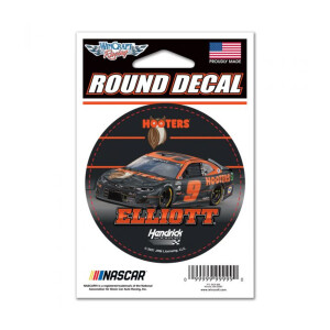 """Chase ElliottHooters Round Vinyl Decal - 3"""" x 3"""""""