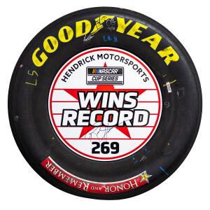 Rick Hendrick & Kyle Larson Signed Race Used 2021 Charlotte 269 Win Tires