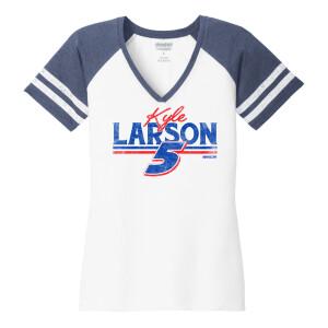 Kyle Larson Race Day V-neck Ladies T-shirt