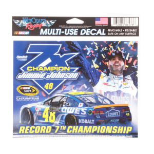 "Jimmie Johnson 2016 NASCAR Sprint Cup Champion Multi-use Decal 4.5"" X 6"""