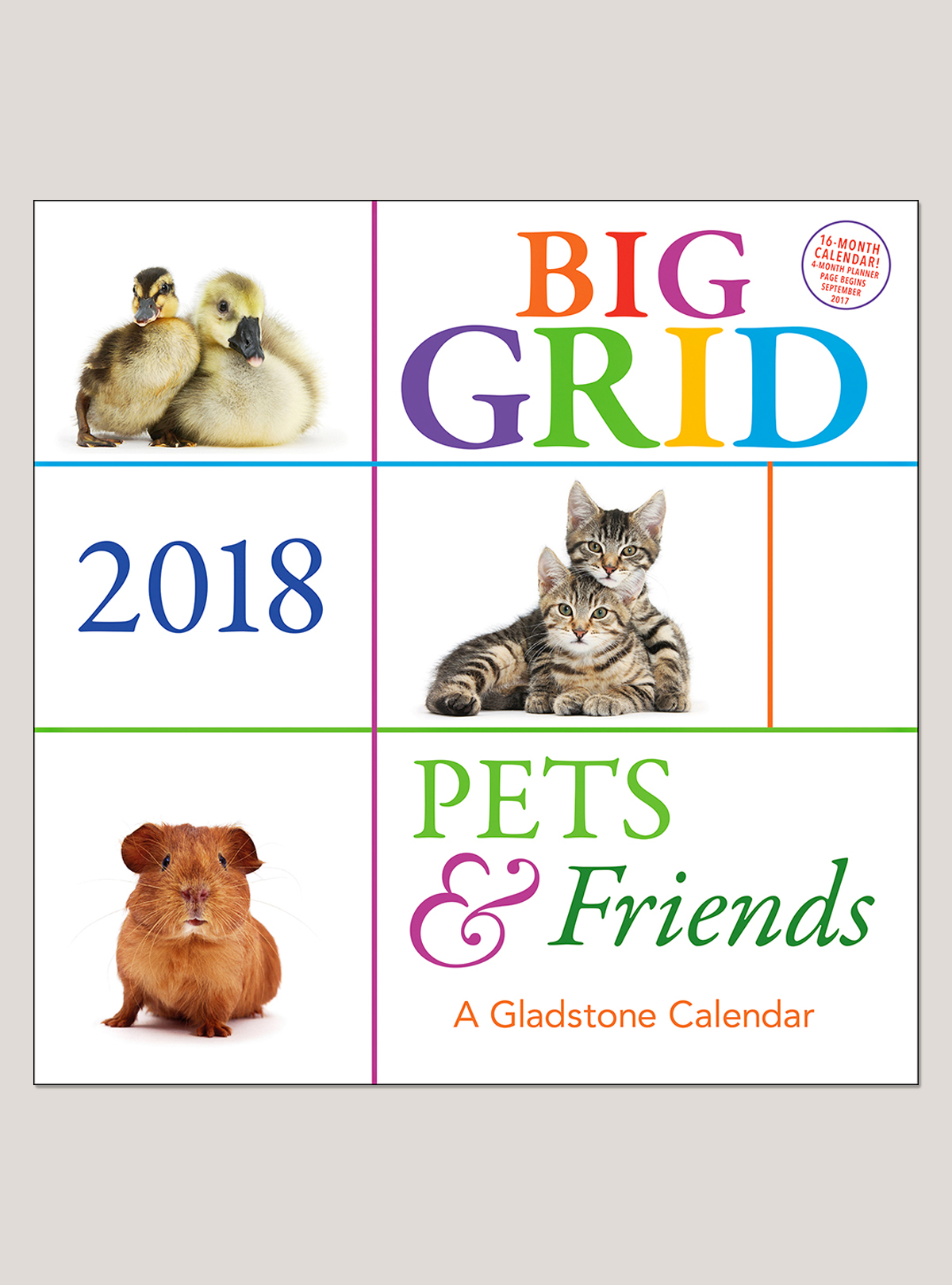 "2018 Pets & Friends Big Grid 12"" x 12"" Wall Calendar"