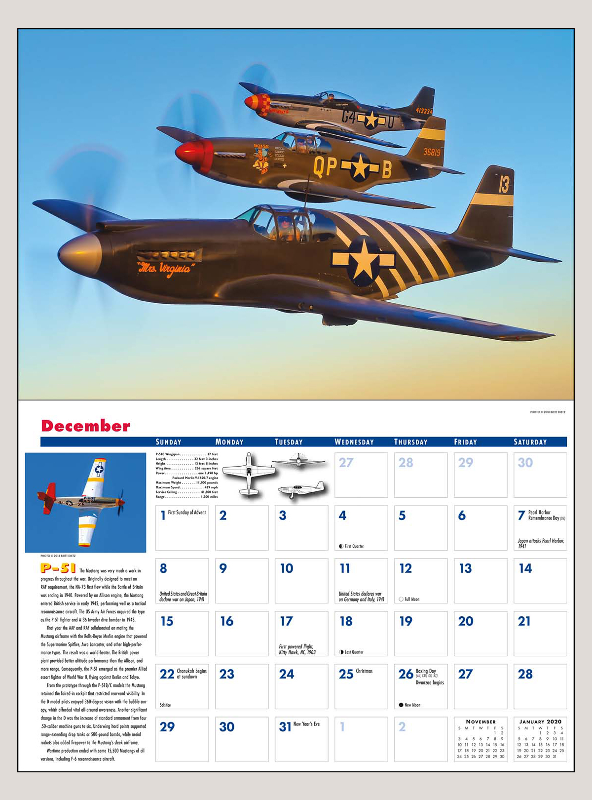 "2019 Golden Age of Flight 12"" x 18"" DELUXE WALL CALENDAR"
