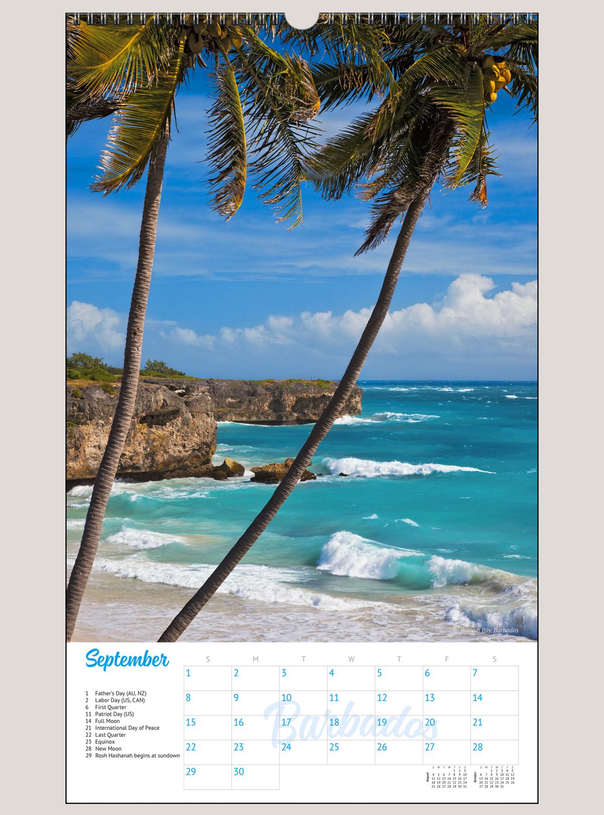 "2019 Tropical Beaches 12"" x 20"" BIG PICTURE™ CALENDAR"