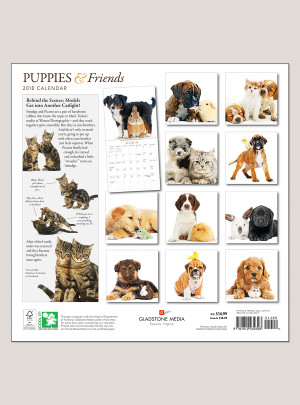 "2018 Puppies & Friends 12"" x 12"" Wall Calendar"