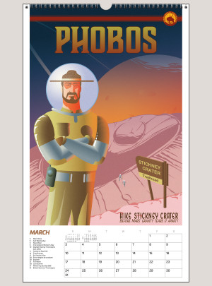 """2019 Space Vacation: Galactic Travel Posters 12"""" x 20"""" BIG PICTURE™ CALENDAR"""