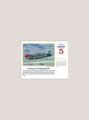 "2021 Golden Age of Flight 5.25"" x 4.25"" PAGE PER DAY CALENDAR"