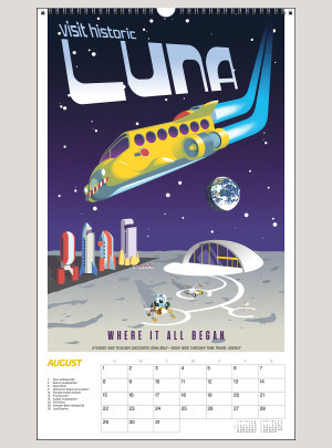 """2021 Space Vacation: Galactic Travel Posters 12"""" x 20"""" BIG PICTURE™ CALENDAR"""
