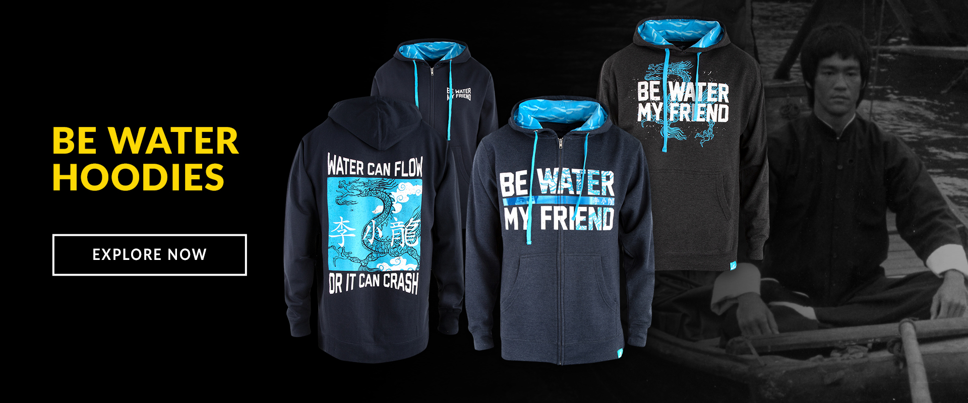Bruce Lee Be Water Hoodies