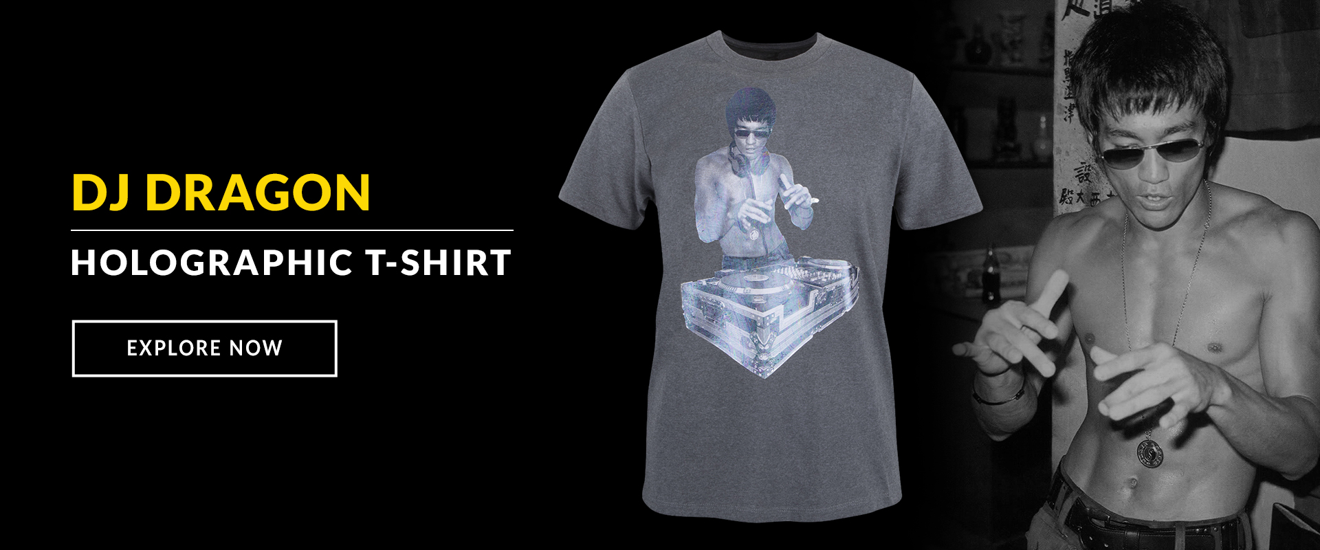 Bruce Lee DJ Dragon Holographic T-shirt