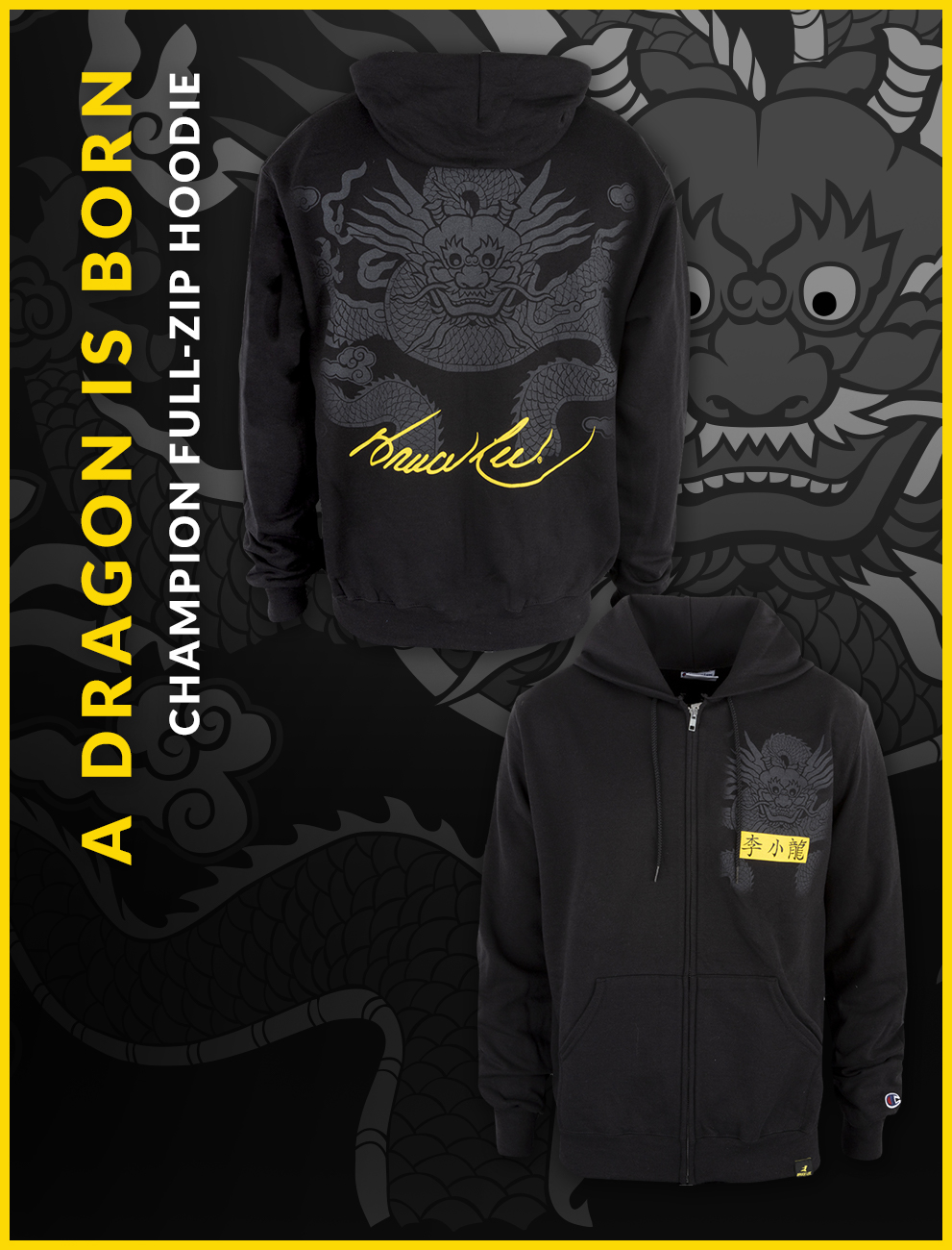 Bruce Lee Dragon Is Born Champion Zip Hoodie