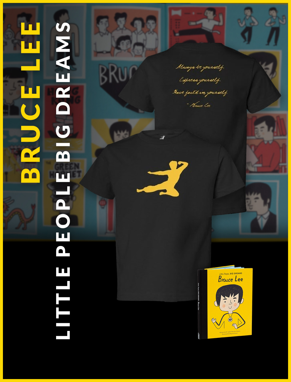 Flying Man Youth Tee and Little People Big Dreams Book Bundle