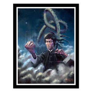 Bruce Lee Dragon Eyes Justin Bua Framed Fine Art Print