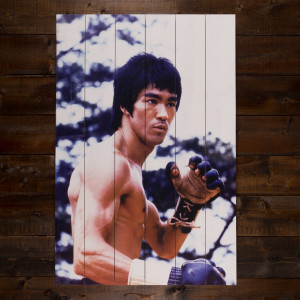 Bruce Lee Fighting Ink Print on White Pine
