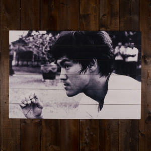 Bruce Lee in Thought Ink Print on White Pine