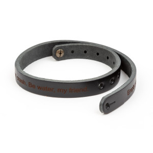 Be Water, My Friend Men's Leather Wristband - Black