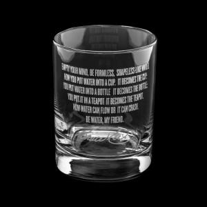 Be Water Full Quote 13.5oz Etched Glass