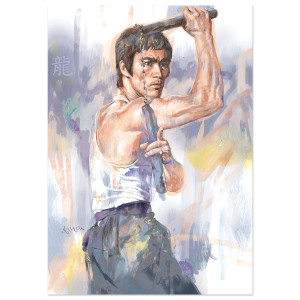 Bruce Lee Milton Wong Nunchucks Print