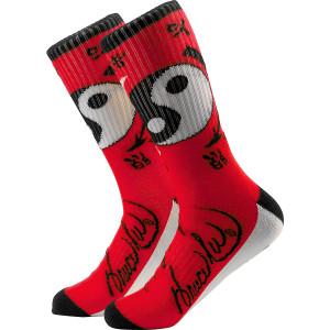 Yin Yang Crew Socks RED