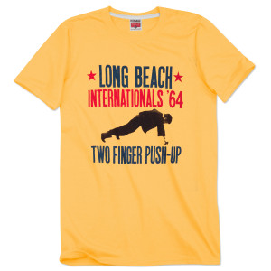 Bruce Lee Long Beach Internationals '64 Two Finger Push-Up T-shirt by Homage