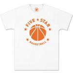 Five-Star Basketball – White Modern Logo Tee